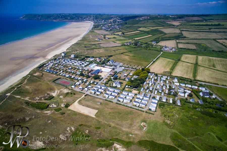 Luftbildvideo Campingplatz Le Grand Large, Les Pieux, Normandie